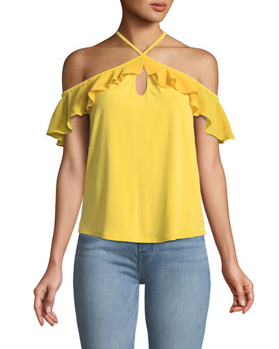 Halter-Neck Cold-Shoulder Chiffon Top