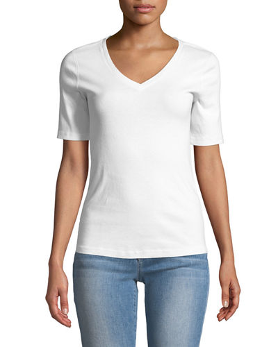 Essential Mid-Sleeve V-Neck Tee