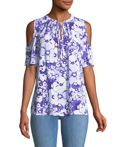 Cold-Shoulder Floral-Print Tie-Neck Blouse