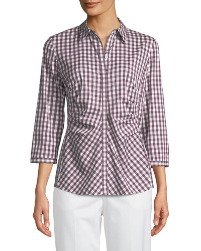 Leigh 3/4-Sleeve Pleated Gingham Blouse