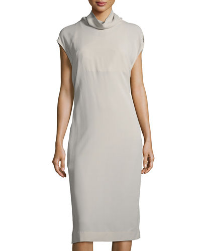 Monili-Backed Crepe Sheath Dress