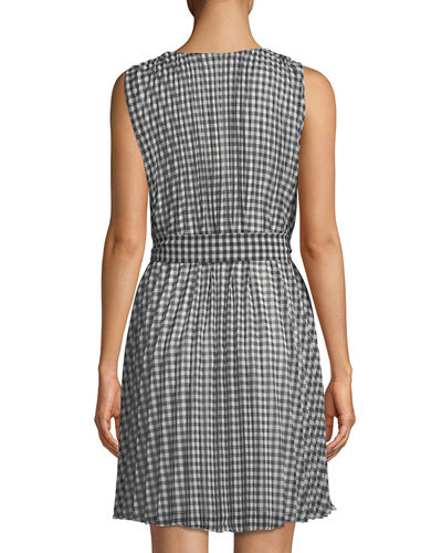 V-Neck A-Line Belted Gingham Dress