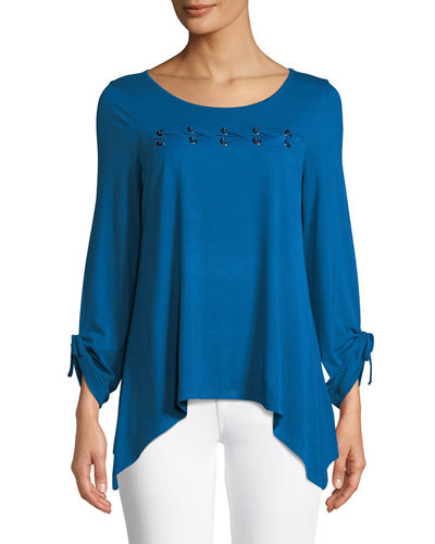 Neiman Marcus Lace-Up Sharkbite Hem Tee