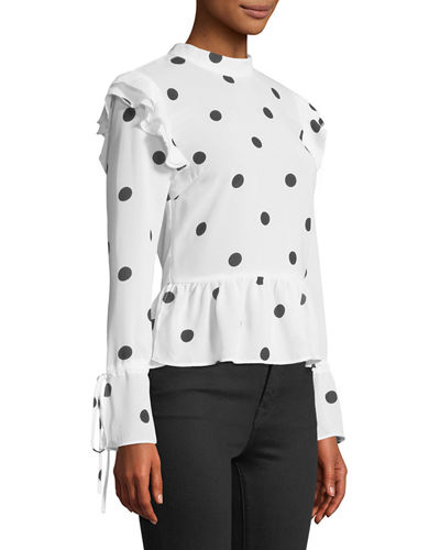 Polka-Dot Peplum Long-Sleeve Blouse
