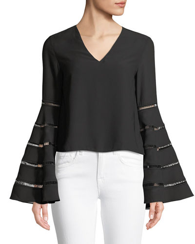 Endless Rose Ladder-Trim Bell-Sleeve Blouse