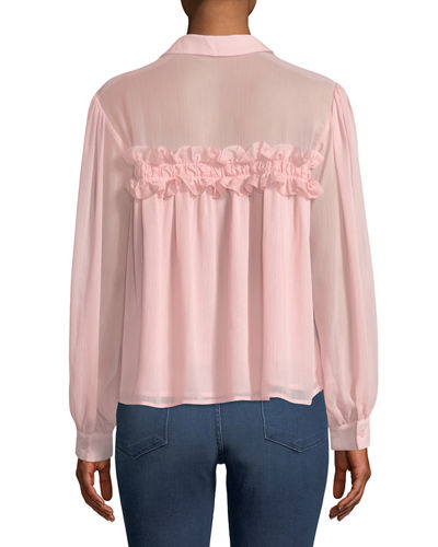 Ruffled Button-Front Blouse