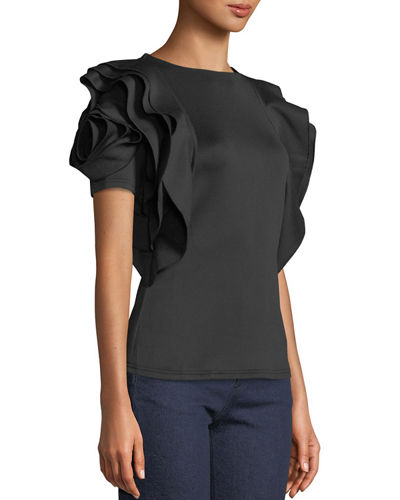 Rose-Sleeve Satin Blouse