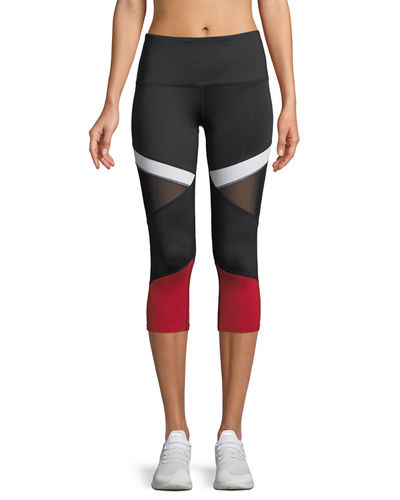 Colorblocked Mesh-Inset Capri Leggings