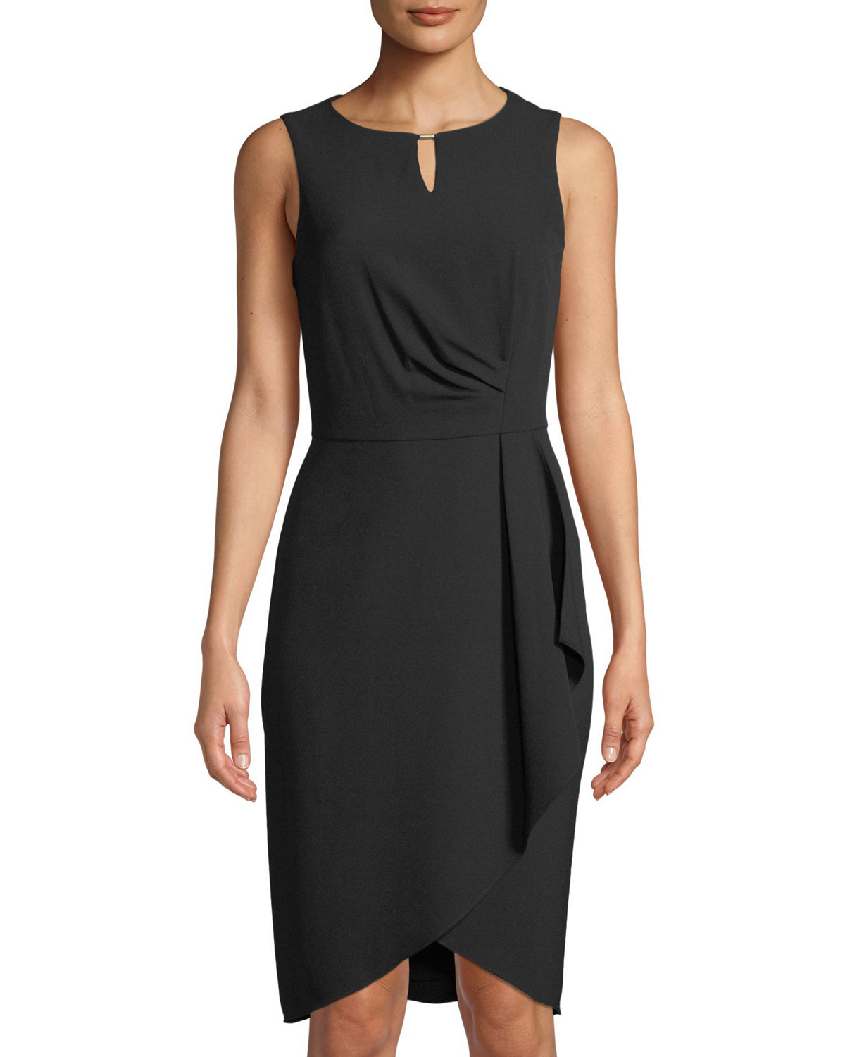 Draped-Waist Sleeveless Dress
