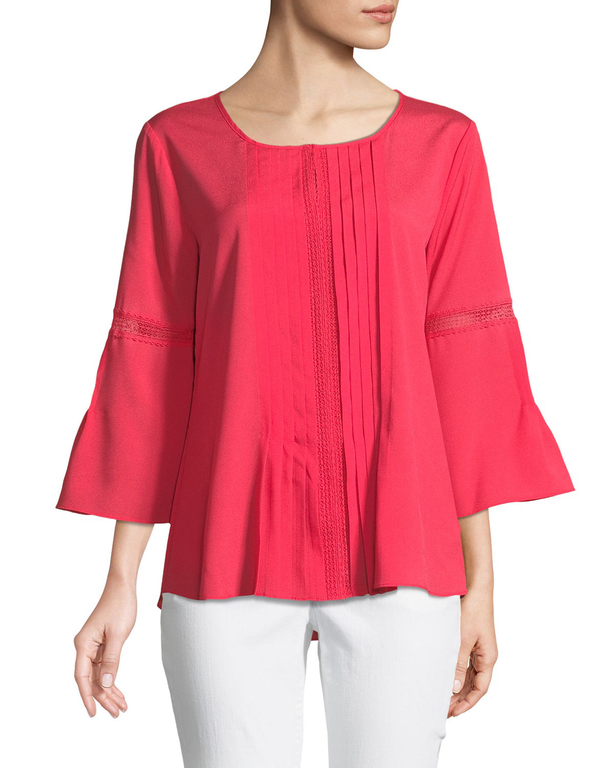 3/4-Bell Sleeve Pleated Blouse