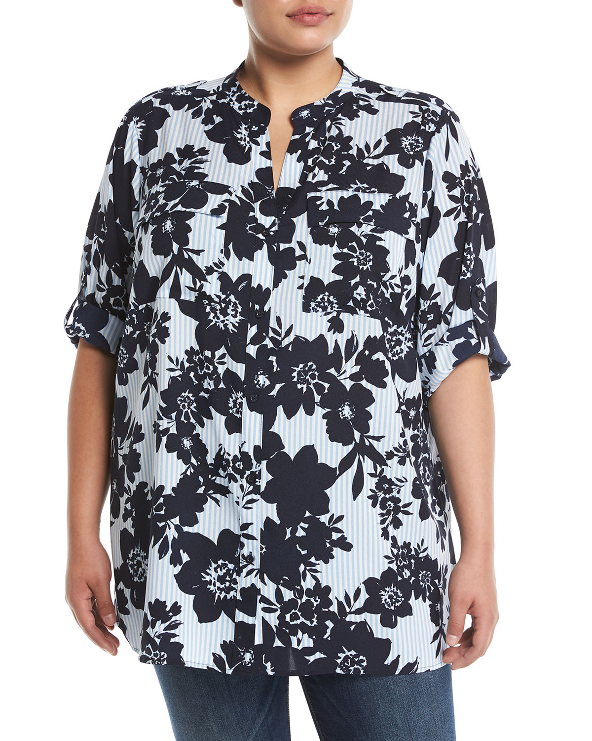 Floral Roll-Sleeve Button-Front Blouse, Plus Size