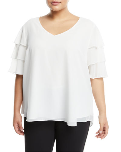 Iconic American Designer Tiered-Sleeve V-Neck Tee, Plus Size