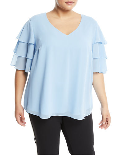 Tiered-Sleeve V-Neck Tee, Plus Size