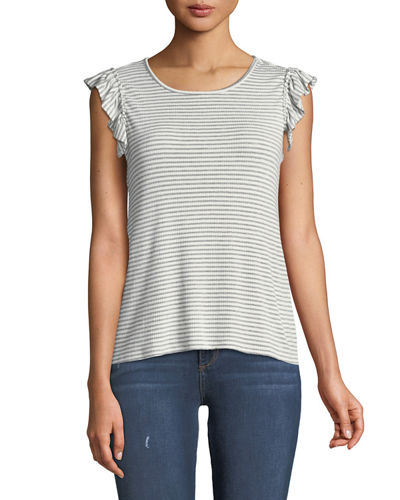 CeCe by Cynthia Steffe Striped Ruffled Cap-Sleeve Tee