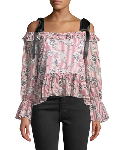 Free Generation Satin-Ribbon Cold-Shoulder Floral Blouse