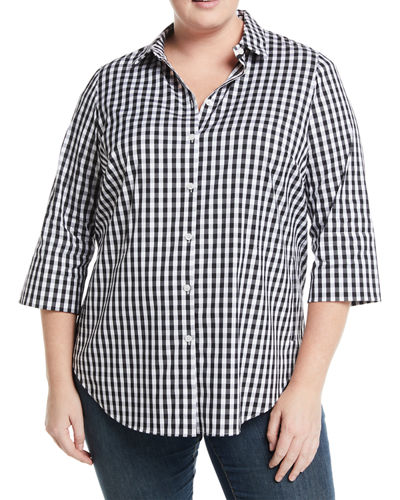 Lafayette 148 New York 3/4-Sleeve Button-Front Gingham Top,