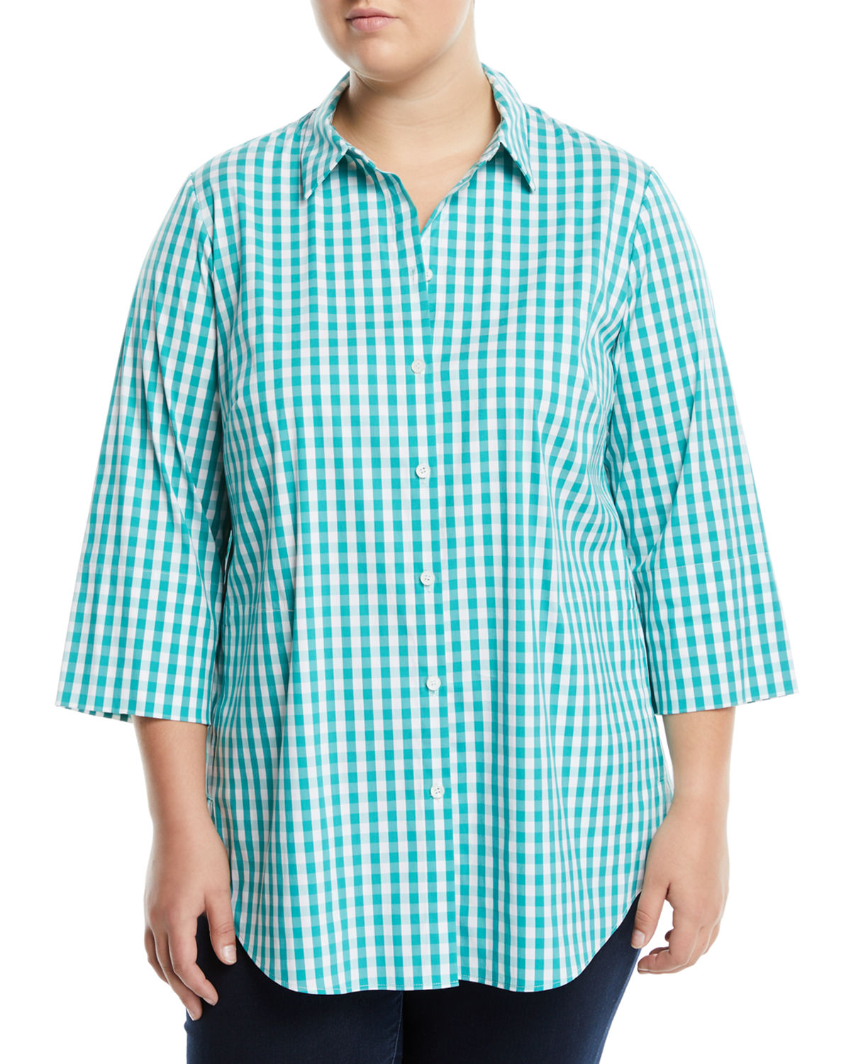 3/4-Sleeve Button-Front Gingham Top, Plus Size