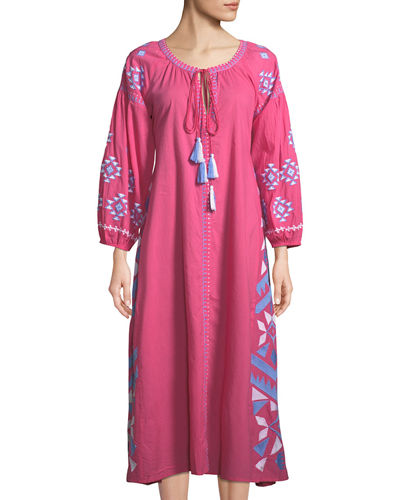 Kilim Embroidered Button-Front Dress