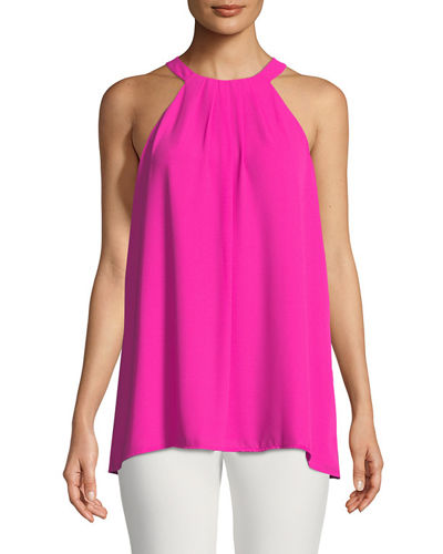 Halter-Neck Pleated-Front Blouse