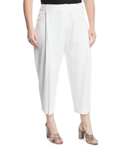 Pleated Wide-Leg Ankle Pants  Plus Size