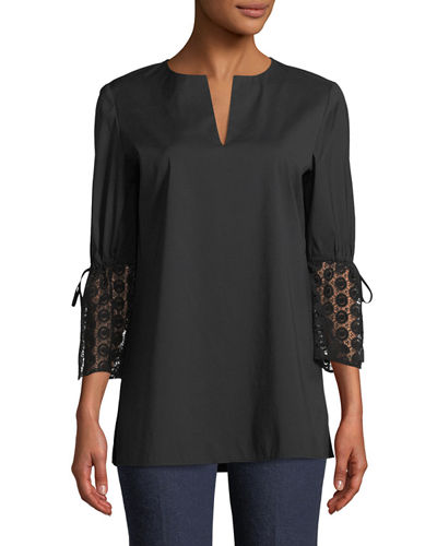 Sela Drawstring-Sleeve Cotton Blouse