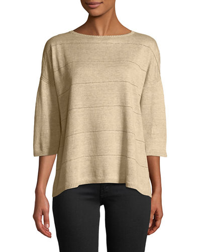 Lafayette 148 New York Chain-Striped Linen Sweater