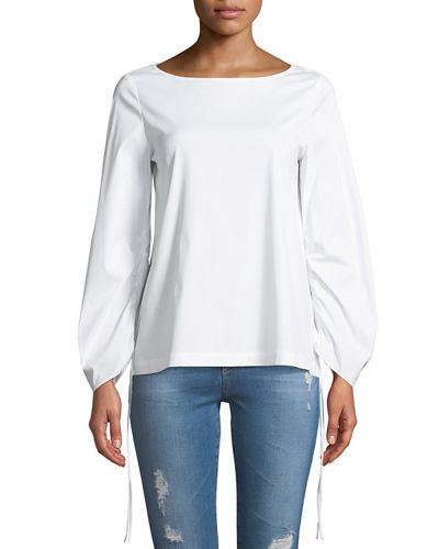 Lafayette 148 New York Kira Cinched-Sleeves Blouse
