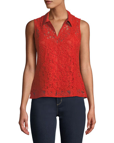 Iconic American Designer Collared Lace Sleeveless Top