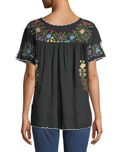 Embroidered Short-Sleeve Peasant Blouse