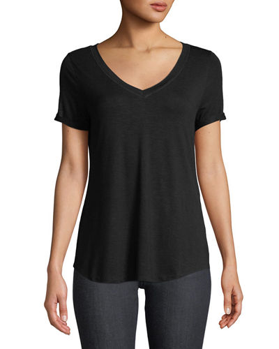 Mesh-Trimmed V-Neck Cuffed Tee