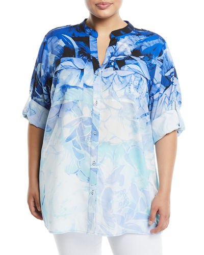 Iconic American Designer Tropical-Floral Roll-Sleeve Blouse, Plus