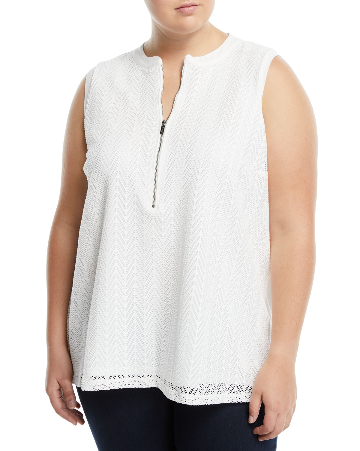 Zip-Front Sleeveless Leaf-Lace Blouse, Plus Size