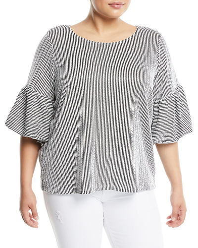 Puff-Sleeve Striped Seersucker Blouse  Plus Size