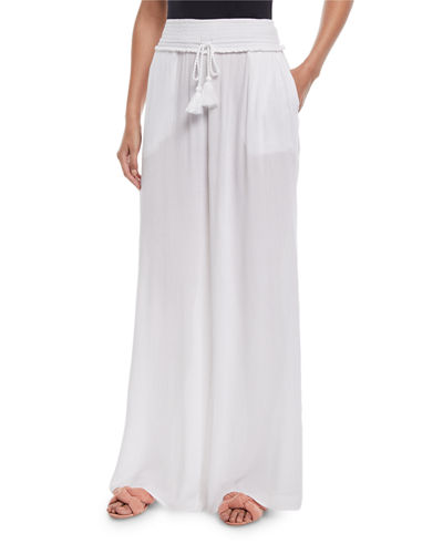 Smocked-Waist Wide-Leg Pants