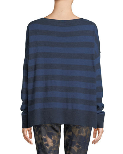 Drop-Shoulder Striped Pullover Tee