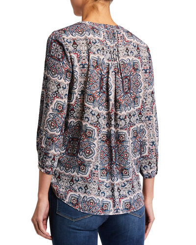 3/4-Sleeve Pintuck-Back Chiffon Blouse