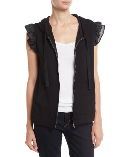 Bobeau Keeley Sleeveless Ruffle-Trim Hoodie Sweatshirt