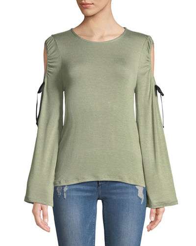 Bobeau Yara Ribbon Cold-Shoulder Tee