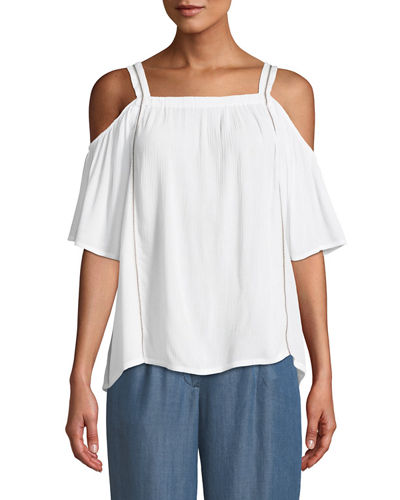 Bobeau Cold-Shoulder Embroidered Peasant Blouse