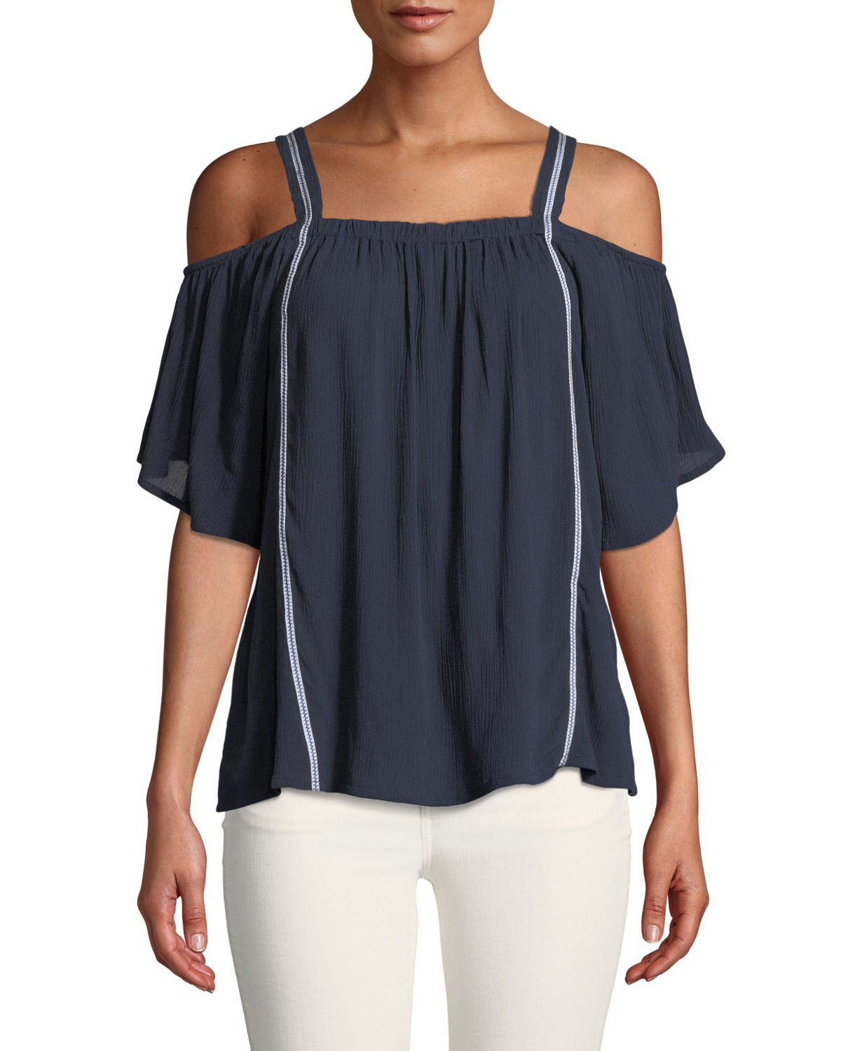 Cold-Shoulder Embroidered Peasant Blouse