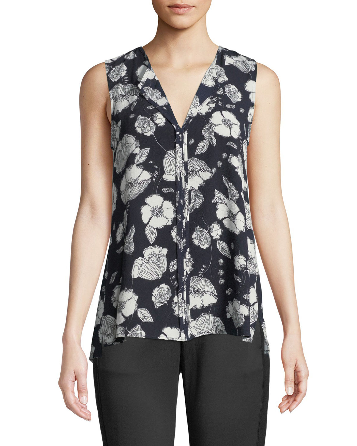 Lily Sleeveless Floral-Crepe Blouse