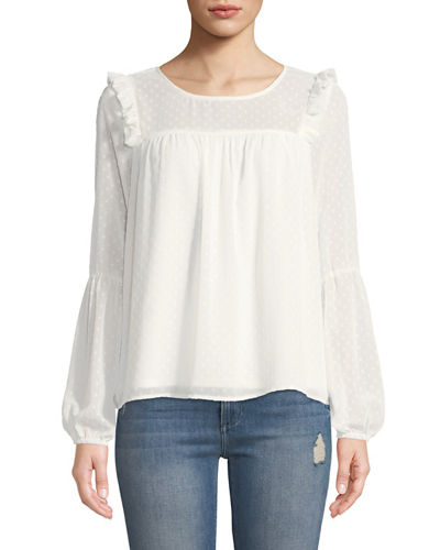 Adine Swiss-Dot Embroidered Blouse