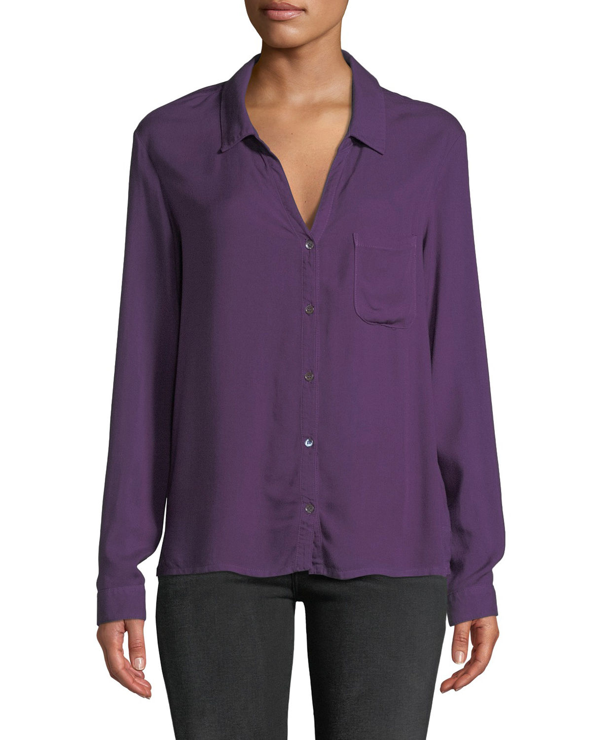 Lightweight Woven Button-Front Blouse