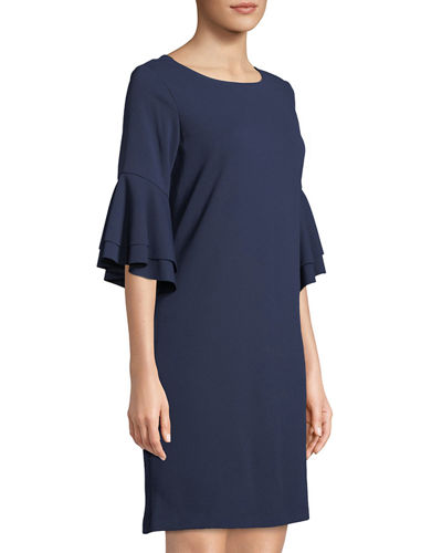 Tiered-Flare Sleeve Shift Dress