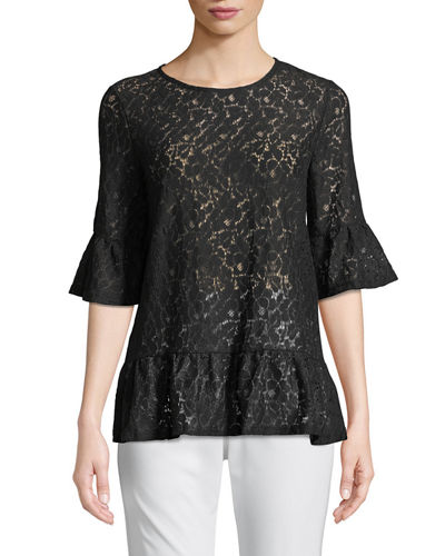 Flare-Sleeve Lace Blouse