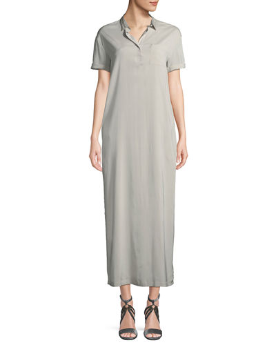 Monili-Beaded Silk Maxi T-Shirt Dress