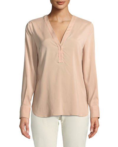 V-Neck Crepe De Chine Blouse