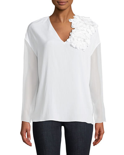 Brunello Cucinelli Petal-Shoulder Crepe De Chine Blouse