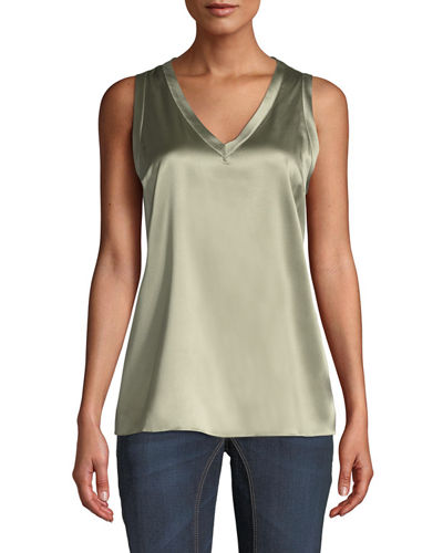 Solid Satin V-Neck Tank