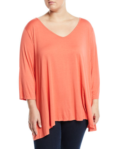 Wide-Sleeve V-Neck Tee  Plus Size